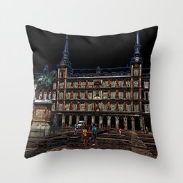 Neon Art of a plaza in Madrid, Spain Throw Pillow