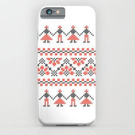 Traditional Romanian red & black cross-stitch people motif on white iPhone Case