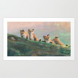 Red Fox Kits First Outing Art Print