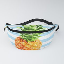 Pineapple, blue stripes, kitchen poster, garden poster, rounded Fanny Pack