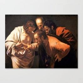 The Incredulity of Saint Thomas by Caravaggio (1602) Canvas Print