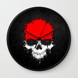 Flag of Indonesia on a Chaotic Splatter Skull Wall Clock