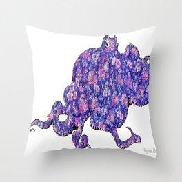 Floral Octopus  Throw Pillow