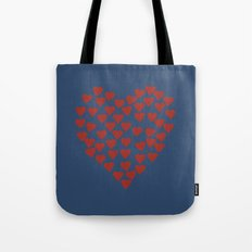 Hearts Heart Red on Navy Tote Bag
