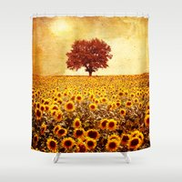 sunflowers Shower Curtains featuring lone tree & sunflowers field by Viviana Gonzalez