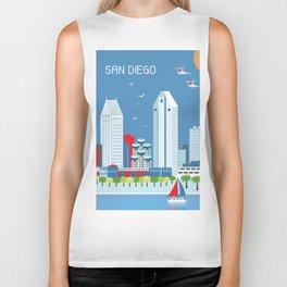 San Diego, California - Skyline Illustration by Loose Petals Biker Tank