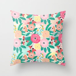 Modern brush paint abstract floral paint Throw Pillow