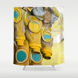 Yellow gas mask Shower Curtain