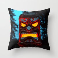 returns Throw Pillows featuring Tiki returns by Vorona Photography