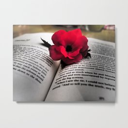 Book and flower Metal Print