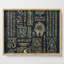 Egyptian hieroglyphs and deities -Abalone and gold Serving Tray
