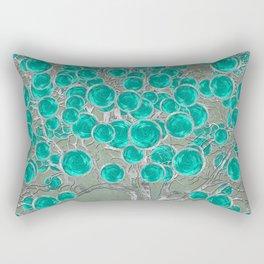 Abstract Silver and Teal tree Digital art Rectangular Pillow