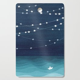 Garlands of stars, watercolor teal ocean Cutting Board