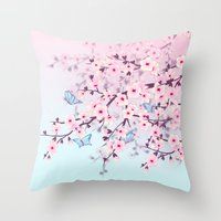 cherry blossoms Throw Pillows featuring Cherry Blossoms by Baydur Mandalaart