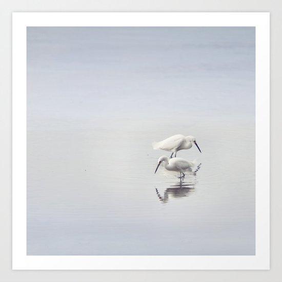 Egret Dance Art Print