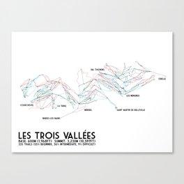 Les Trois Vallees, Savoie, France - EUR Edition (Labeled) - Minimalist Trail Art Canvas Print