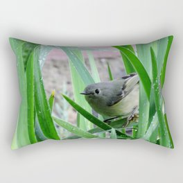 Kinglet Approaching Rectangular Pillow