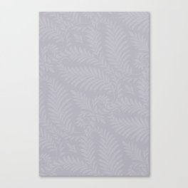 Pantone Lilac Gray Fancy Leaves Scroll Damask Pattern Canvas Print