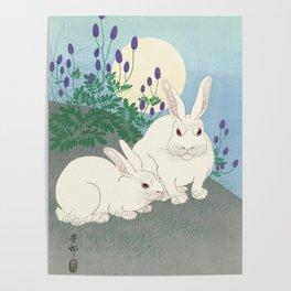 Rabbits at full moon, Ohara Koson Poster