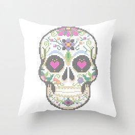 Create a Real Stitchery - Pixel Art - Day of the Dead, Cinco de Mayo, Calavera, Dia de los Muertos Throw Pillow