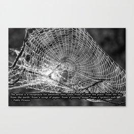 Raindrop Covered Spiderweb Canvas Print