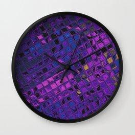 Blue lilac decorative squared modern pattern Wall Clock
