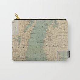 Vintage Lake Michigan Lighthouse Map (1898) Carry-All Pouch