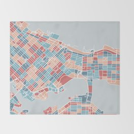 Colorful Vancouver map Throw Blanket