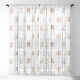 Watercolor Woodland Animals Sheer Curtain