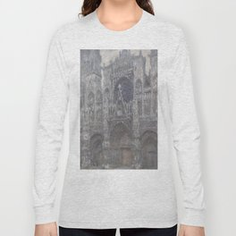 The Cathedral in Rouen. The portal, Grey Weather. by Claude Monet Long Sleeve T-shirt