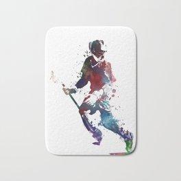 Lacrosse player art 3 Bath Mat