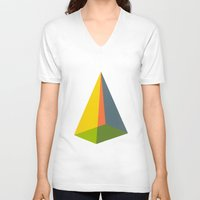 pyramid V-neck T-shirts featuring Pyramid by MAGNA