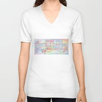 music notes V-neck T-shirts featuring Music Notes by Rick Borstelman