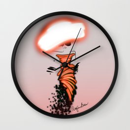 Fashion model looking chic in orange silk couture dress and hat Wall Clock