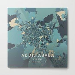 Addis Ababa, Ethiopia - Cream Blue Metal Print