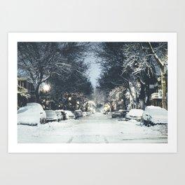 Montreal Snowy winter street Art Print