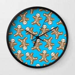 Skeleton Gingerbread Man Pattern Wall Clock