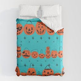 Trick or Treat Smell My Feet- Turquoise Duvet Cover