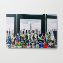 Aperitifs in New York Landscape Painting Metal Print