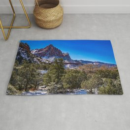 The_Watchman - Winter in Zion_National_Park, UT Rug