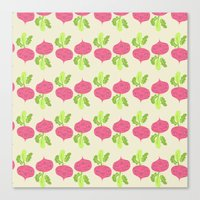 vegetable Canvas Prints featuring VEGETABLE-RADISH! by Claudia Ramos Designs