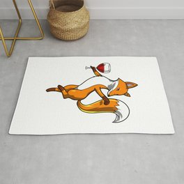 Cute Fox Drinking Wine Party Rug