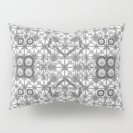 Tribal Batik, Grey / Gray, Black and White Pillow Sham
