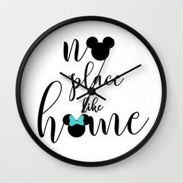 No place like home blue Wall Clock