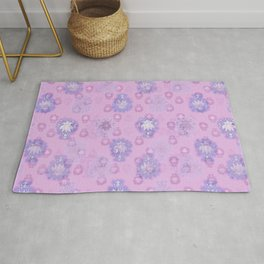 Lotus flower - pink and light blue woodblock print style pattern Rug
