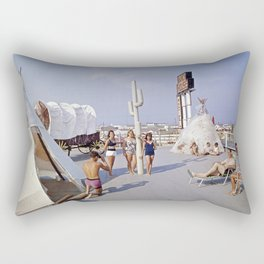 Ranch House Motel in the 1960's. North Wildwood, New Jersey Rectangular Pillow