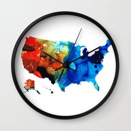 United States of America Map 4 - Colorful USA Wall Clock