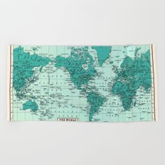 World Map in Teal Beach Towel