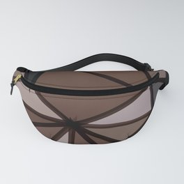 geometric triangle polygon pattern abstract in brown and black Fanny Pack
