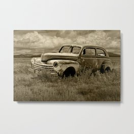 Vintage Ford Automobile Abandoned on the Western Prairie in Sepia Metal Print